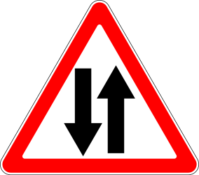 Traffic sign of Russia: Warning for a road with two-way traffic