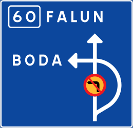Traffic sign of Sweden: Detour for vehicles that are not allowed to pass.