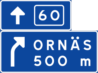 Traffic sign of Sweden: Information about the next exit