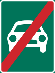 Traffic sign of Sweden: End of the expressway