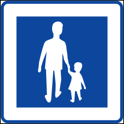 Traffic sign of Sweden: Begin of a zone for pedestrians