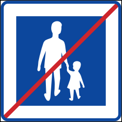 Traffic sign of Sweden: End of the zone for pedestrians