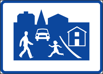 Traffic sign of Sweden: Begin of a residential area