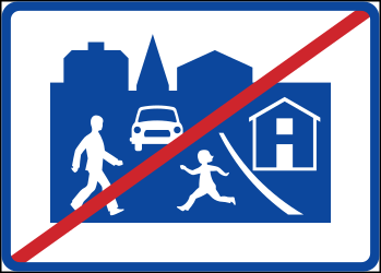 Traffic sign of Sweden: End of the residential area