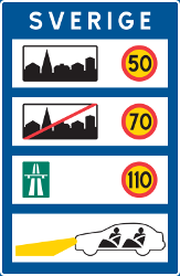Traffic sign of Sweden: National speed limits