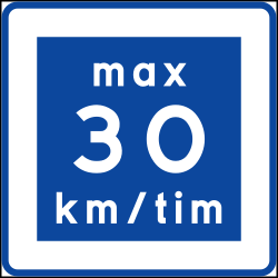 Traffic sign of Sweden: Recommended speed