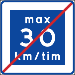 Traffic sign of Sweden: End of the recommended speed