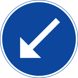 Traffic sign of Sweden: Passing left mandatory