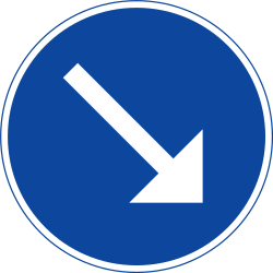 Traffic sign of Sweden: Passing right mandatory