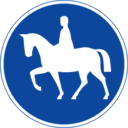 Traffic sign of Sweden: Mandatory path for equestrians