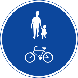 Traffic sign of Sweden: Mandatory shared path for pedestrians and cyclists