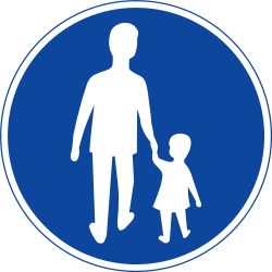 Traffic sign of Sweden: Mandatory path for pedestrians
