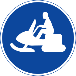 Traffic sign of Sweden: Mandatory path for snowmobiles