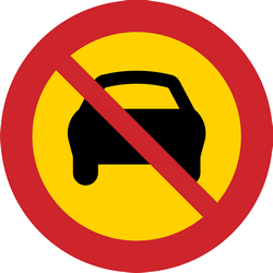 Traffic sign of Sweden: Cars prohibited