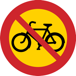 Traffic sign of Sweden: Cyclists prohibited