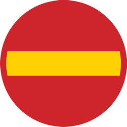 Traffic sign of Sweden: Entry prohibited (road with one-way traffic)