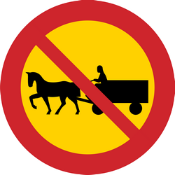 Traffic sign of Sweden: Horse carts prohibited