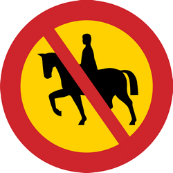 Traffic sign of Sweden: Equestrians prohibited