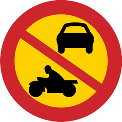 Traffic sign of Sweden: Motorcycles and cars prohibited
