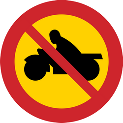Traffic sign of Sweden: Motorcycles prohibited