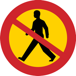 Traffic sign of Sweden: Pedestrians prohibited