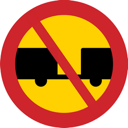 Traffic sign of Sweden: Trucks with trailer prohibited
