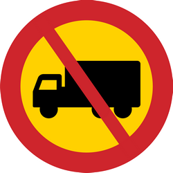 Traffic sign of Sweden: Trucks prohibited