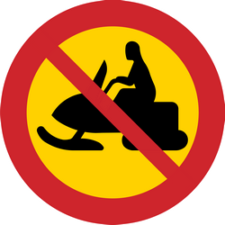 Traffic sign of Sweden: Snowmobiles prohibited