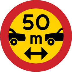 Traffic sign of Sweden: Leaving less distance than indicated prohibited