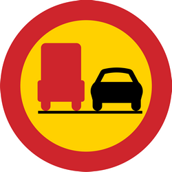 Traffic sign of Sweden: Overtaking prohibited for trucks