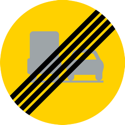 Traffic sign of Sweden: End of the overtaking prohibition for trucks