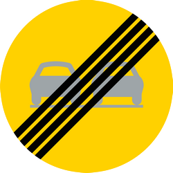 Traffic sign of Sweden: End of the overtaking prohibition