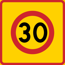 Traffic sign of Sweden: Begin of a zone with speed limit