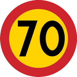 Traffic sign of Sweden: Driving faster than indicated prohibited (speed limit)