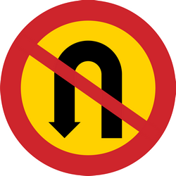 Traffic sign of Sweden: Turning around prohibited (U-turn)