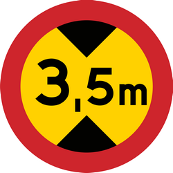 Traffic sign of Sweden: Vehicles higher than indicated prohibited