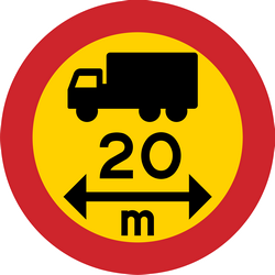 Traffic sign of Sweden: Vehicles longer than indicated prohibited