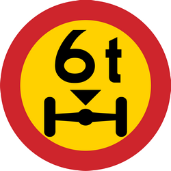 Traffic sign of Sweden: Vehicles with an axle weight heavier than indicated prohibited