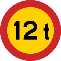 Traffic sign of Sweden: Vehicles heavier than indicated prohibited