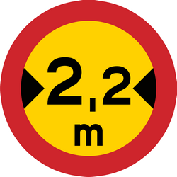 Traffic sign of Sweden: Vehicles wider than indicated prohibited