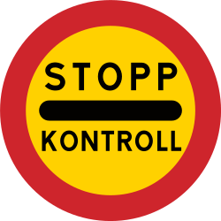 Traffic sign of Sweden: Entry prohibited (checkpoint)