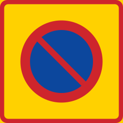 Traffic sign of Sweden: Begin of zone where parking is prohibited