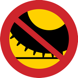 Traffic sign of Sweden: Studded tires prohibited