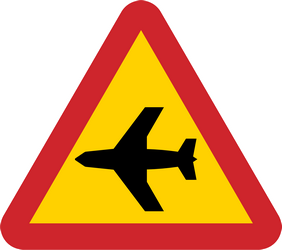 Traffic sign of Sweden: Warning for low-flying aircrafts