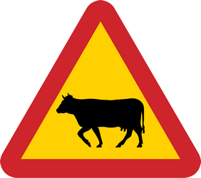 Traffic sign of Sweden: Warning for cattle on the road