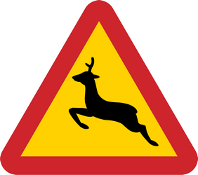 Traffic sign of Sweden: Warning for crossing deer