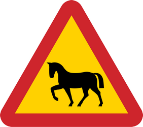 Traffic sign of Sweden: Warning for wild horses on the road