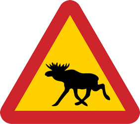 Traffic sign of Sweden: Warning for moose on the road