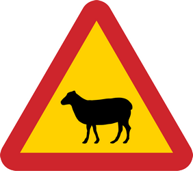 Traffic sign of Sweden: Warning for sheep on the road
