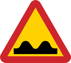 Traffic sign of Sweden: Warning for a bad road surface